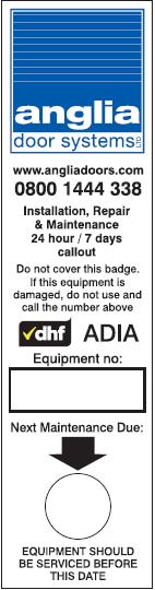 Maintenance sticker Anglia Door Systems