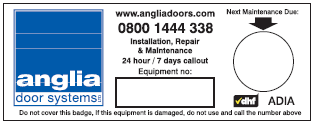 Maintenance sticker 2 - Anglia Door Systems