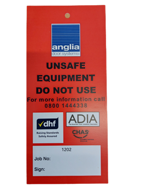 Unsafe equipment tag